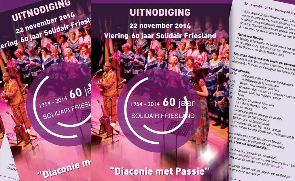 Uitnodiging flyer 60 jaar jubileum Solidair Friesland